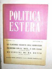 POLITICA ESTERA Numero 7-8 Agosto-Settembre 1944 libro di scritto da saggio per