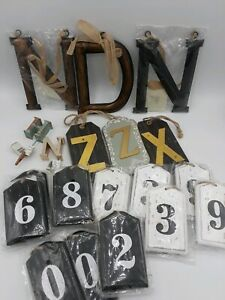 New Wooden Tag Hanging Shabby Rustic Bundle Letters & Numbers Large Bundle.
