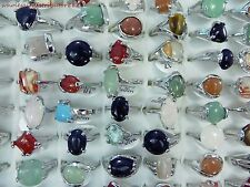 US SELLER wholesale rings 15pc agate stone and gemstone fashion costume rings