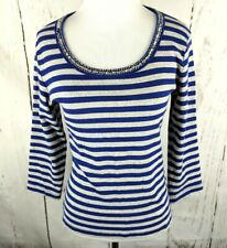 6f6946291b5b8 by CHICO S Ribbed Knit Striped Shirt Sz 1 Sequin Top 3 4 Sleeve Blue Gray