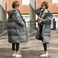 winter womens loose down cotton padded long coat parka hooded outwear puffer Hot