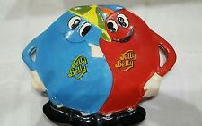 JELLY BELLY CANDY SERVING PLATE DISH Blue & Red Characters Glazed Ceramic