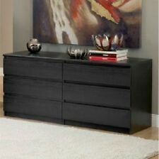 6 DRAWER DRESSER CHEST Wood Storage Organizer Black Bedroom Furniture