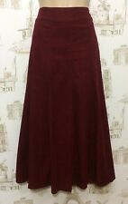 LADIES MONSOON SCARLET RED NEEDLECORD PLEATED WINTER FLARE MAXI SKIRT UK12 = 30W