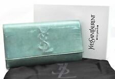 Authentic YVES SAINT LAURENT Clutch Bag Enamel Emerald Green Box A3293