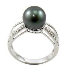 8.5-9MM Tahitian Black Pearl 3.25g 14K White Gold 1/8ctw Diamond Ring
