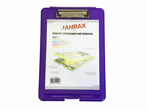 A4 Purple Clipboard Box File - Storage Filing Clip Board Case