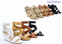 Fashion Strappy Open Toe Wedges Faux Leather Sandal Women Shoes Size  5 - 10 NEW