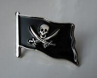 ZP123 Pirate Flag Skull Cross Sword Lapel Pin Badge Biker Motorcycle Jolly Roger