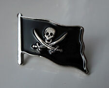ZP123 Pirate Flag Skull Cross Sword Lapel Pin Badge Biker Motorcycle Jolly Roger