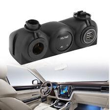 3-USB Car Charger Cigarette Lighter Power Socket Two Hole Tent Base for Car Boat
