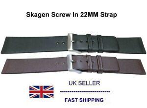 Leather Watch Strap Unstitched 22mm + Screws Fits Skagen 233XXLSLB