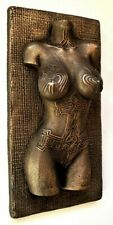Viking Norse Female Nude Tattoo Raven Mjolnir Bronze Sculpture Wall Mount Art
