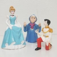 Lot of 3-Disney Cinderella Prince Charming Godmother Porcelain Ceramic Figurines