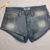 Diesel Womens Jean Shorts Blue Medium Wash Faded Stretch Pockets Denim 24 New