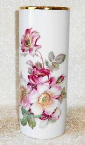 Gerold Porzellan Vase White W/Pink Wild Roses Bavaria Western Germany