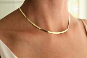 Real 18K Yellow Gold Filled TARNISH-FREE 5mm Wide Herringbone Chain Necklace Y14