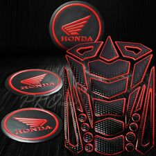 "24PCs Black+Chromed Red Fuel Tank Pad+2x 2"" 3D Honda Logo Fairing Emblem Sticker"