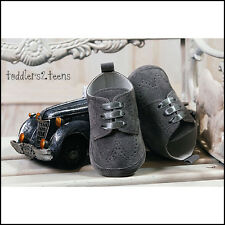 BABY BOYS GREY GRAPHITE SUEDE CHRISTENING WEDDING PRAM SHOES SMART FORMAL PARTY