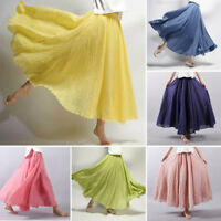 Womens Ladies Midi Length A-line Elastic Waist High Waist Short Skirt Plus Size