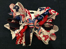 New Huge 6� Custom Boutique Hairbow Disney Mickey Minnie Mouse July 4th America