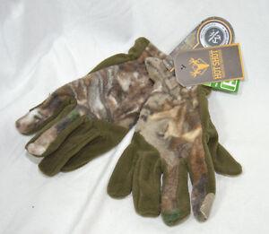Realtree Xtra Hot Shot Khaki Brown Camo Touch Fleece Gloves XS or XL