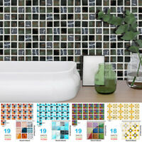 19pcs Mosaic Tile Wall Sticker PVC Waterproof Tiles Decals Kitchen Decor