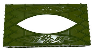 Avocado Green Plastic  Vintage Tissue Box Cover Tissue Holder