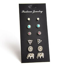 6Pairs Fashion Women Retro Triangle Elephant Turquoise Earrings Stud Jewelry LJ