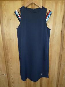 Sportalm Kleid dunkelblau, extravagantes Kleid mit Pailettenträger Gr. 38