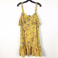 Torrid Size 00 10/12 Floral Yellow Gray Ruffle Dress Spaghetti Strap Lace