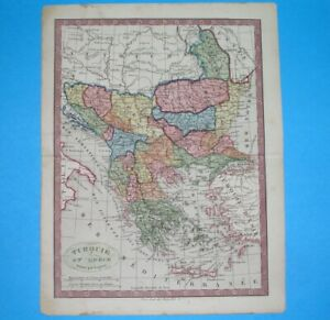 1849 ORIGINAL MAP SERBIA HUNGARY BULGARIA ROMANIA GREECE ALBANIA MOLDAVIA BOSNIA