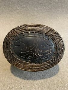 A Hand Made Balinese Wicker Box And Hand Carved Decorative Lid Set 14cm