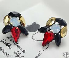 Long Ear Stud Hoop earrings Wholesale 1pair Woman's Red Crystal Rhinestone