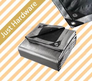 Silver Black Heavy Duty PE Tarpaulin Poly Tarp Camping Cover Water UV Rot Proof