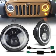 2x 7'' H4 H13 Round Angel Eye LED Hi/Lo Headlight For 97-18 Jeep Wrangler JK TJ