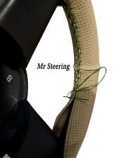 FOR HONDA PRELUDE BEIGE PERFORATED LEATHER STEERING WHEEL COVER GREEN STITCHING