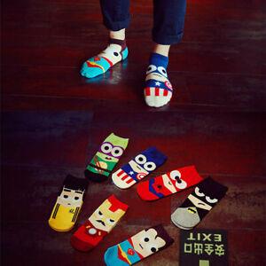 7 Pairs Packs Mens Cartoon Hero Ankle Low Cut Sports Cotton Casual Breathe Socks