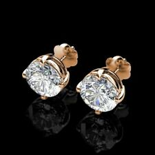 1Ct Brilliant Round Created Diamond Screw Back Stud Earrings 14K Yellow Gold Fn