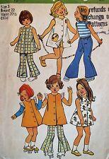 VTG 73 SIMPLICITY 5533 Girls Dress/Jumper~Bell Btm Pants or Shorts PATTERN 3/22B