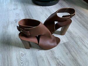 Vince Addie Leather Sandal Heels Shoe Brown Open Toe Bootie