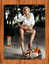 "TIN SIGN ""Stihl Calendar White"" Vintage Pin Up Rustic Wall Decor"