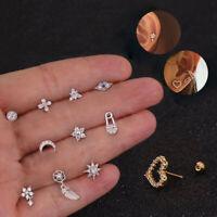 Crystal Rhinestone Flower Moon  Ear Helix Cartilage Body Piercing Earrings Studs