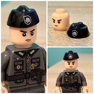 "WW2 WWII black Totenkopf side cap panzer fits ""big brand"" minifigure (UK stock)"