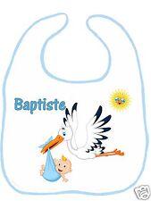 Bavoir bébé blanc bordure bleue réf G07 personnalisé avec prénom