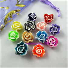 15Pcs Mixed Polymer Fimo Clay Flower Spacer Beads Charms 12mm