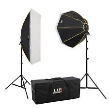 DAUERLICHT Tageslicht Foto-Studio-Set 8x150W 2x Studiostativ Octobox Striplight
