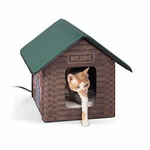 K&H Pet Products Outdoor Heated Kitty House Cat Shelter Log Cabin Design 18 X...