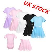 UK Girls Ballet Dance Dress Kids Chiffon Gym Leotards+Wrap Tutu Skirts Dancewear