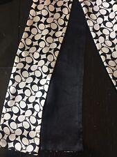 COACH 100% Silk Black Gray Signature C Monogram Bag Ponytail Or Neck Scarf